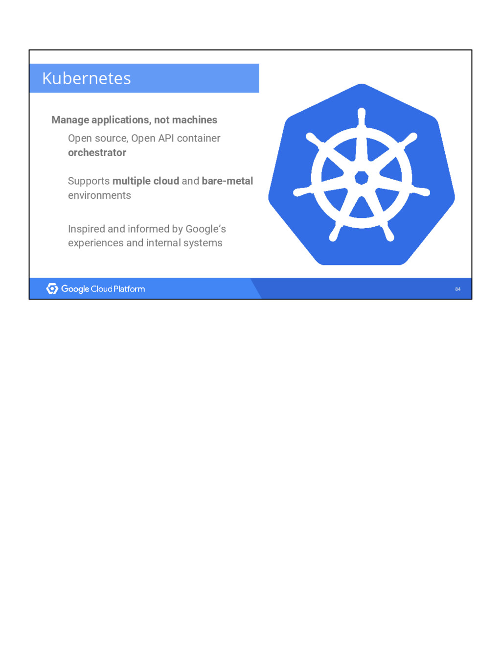 84 Kubernetes Manage applications, not machines...