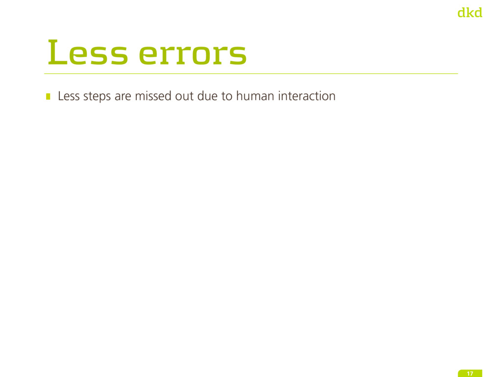 Less errors Less steps are missed out due to hu...