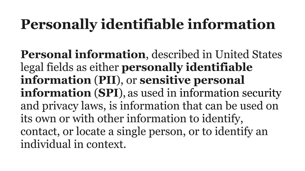 Personally identifiable information Personal in...