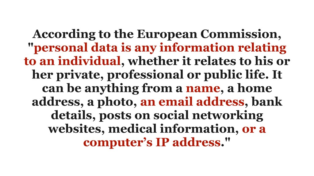 """According to the European Commission, """"personal..."""