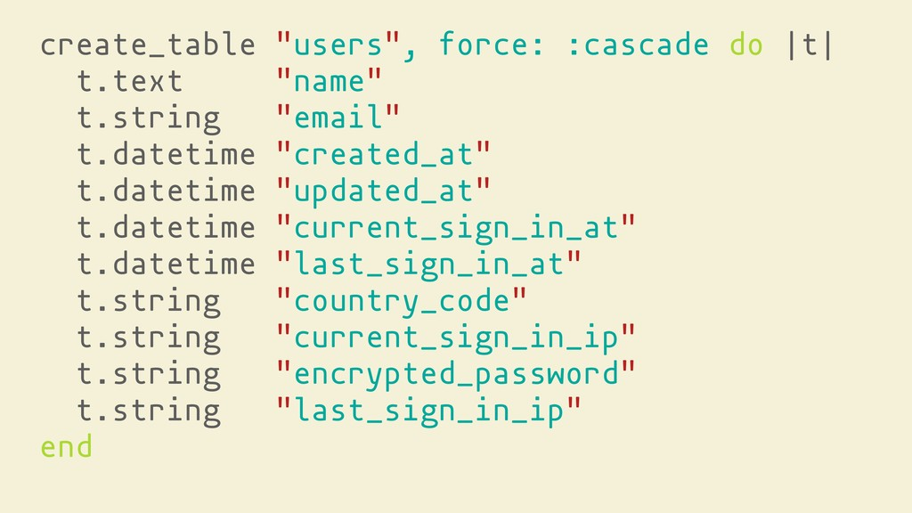 """create_table """"users"""", force: :cascade do 