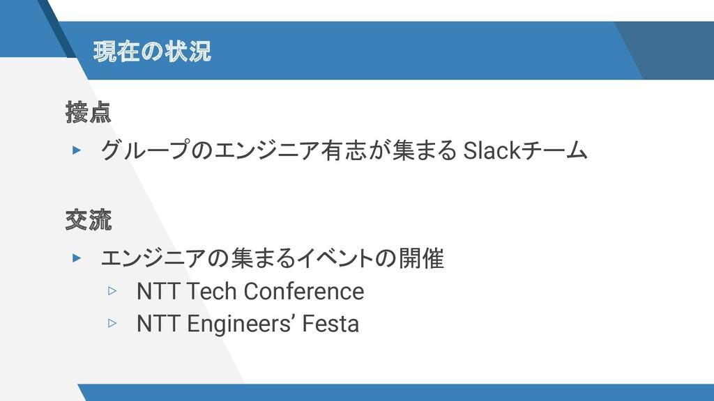 現在の状況 接点 ▸ グループのエンジニア有志が集まる Slackチーム 交流 ▸ エンジニア...