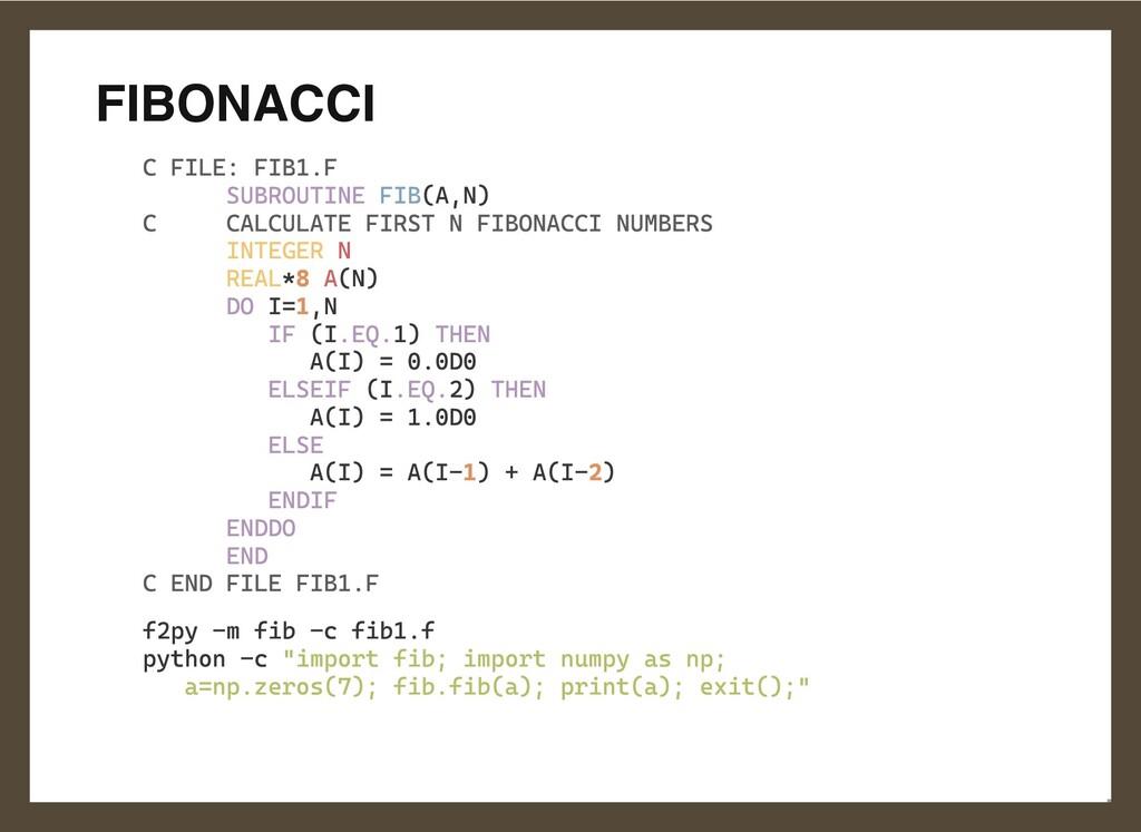 FIBONACCI C FILE: FIB1.F  SUBROUTINE FIB(A,N)  ...