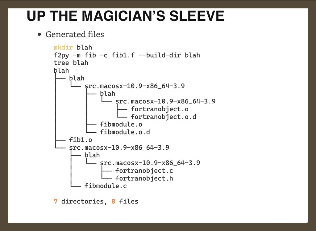 UP THE MAGICIAN'S SLEEVE Generated files  mkdir...
