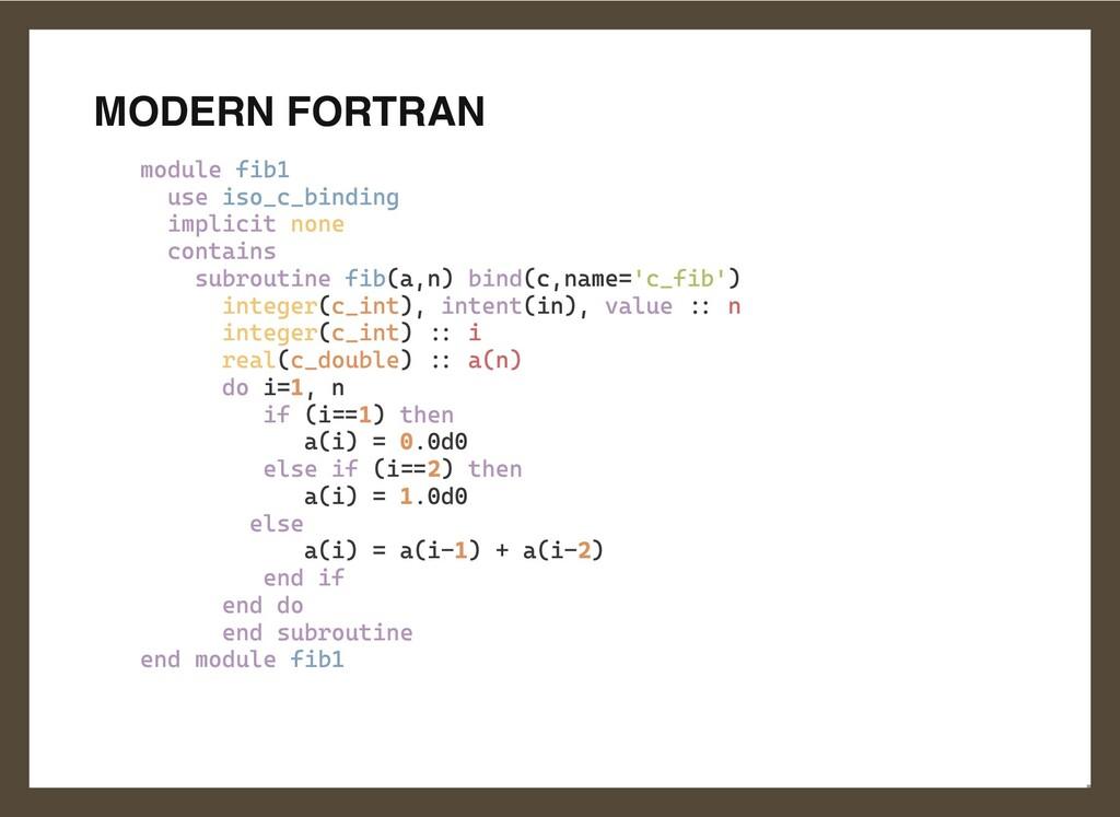 MODERN FORTRAN module fib1  use iso_c_binding  ...