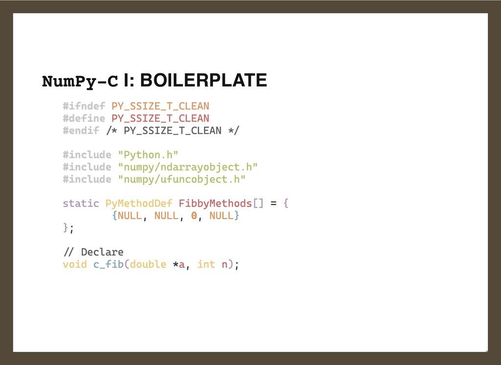 NumPy-C I: BOILERPLATE #ifndef PY_SSIZE_T_CLEAN...