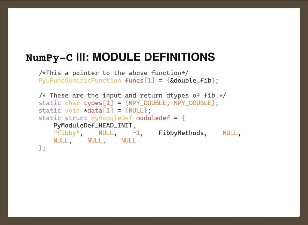 NumPy-C III: MODULE DEFINITIONS /*This a pointe...