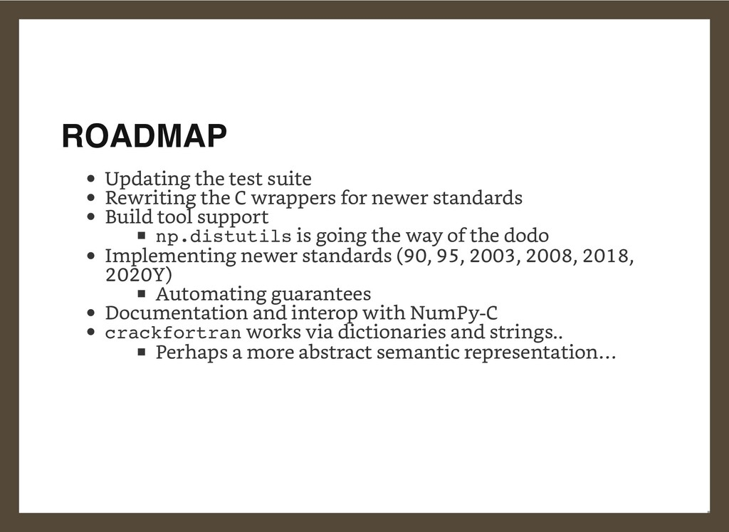 ROADMAP Updating the test suite Rewriting the C...