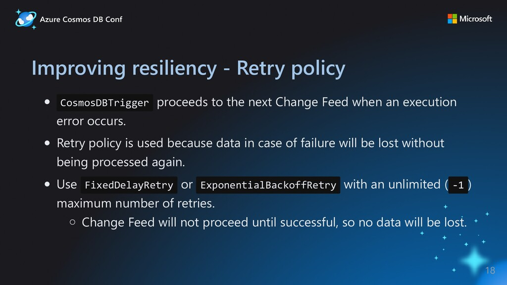 Improving resiliency - Retry policy CosmosDBTri...