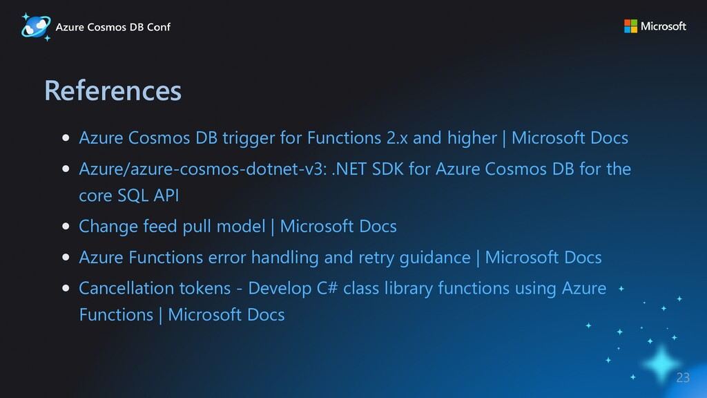 References Azure Cosmos DB trigger for Function...