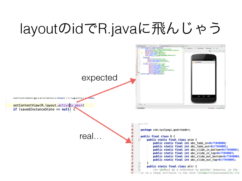 layoutͷidͰR.javaʹඈΜ͡Ό͏ expected real…