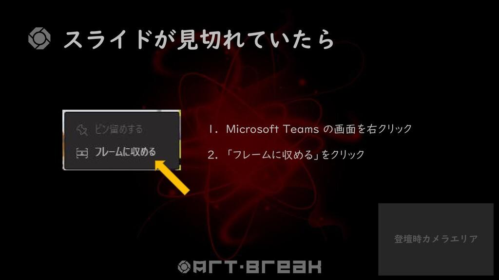 登壇時カメラエリア スライドが見切れていたら 1. Microsoft Teams の画面を右...