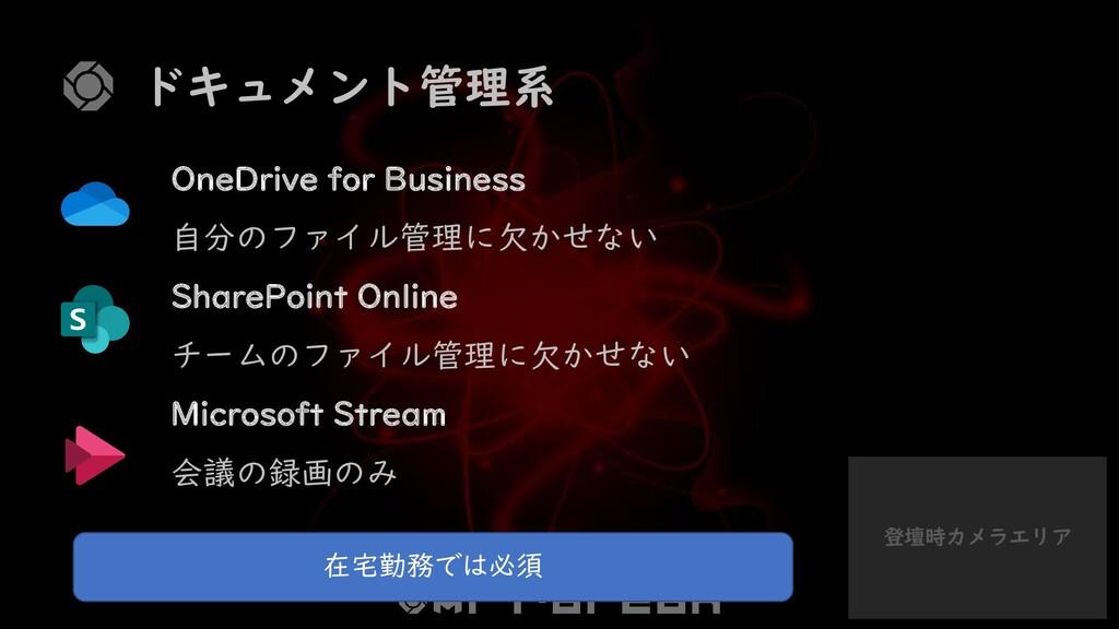 登壇時カメラエリア ドキュメント管理系 OneDrive for Business 自分のファ...