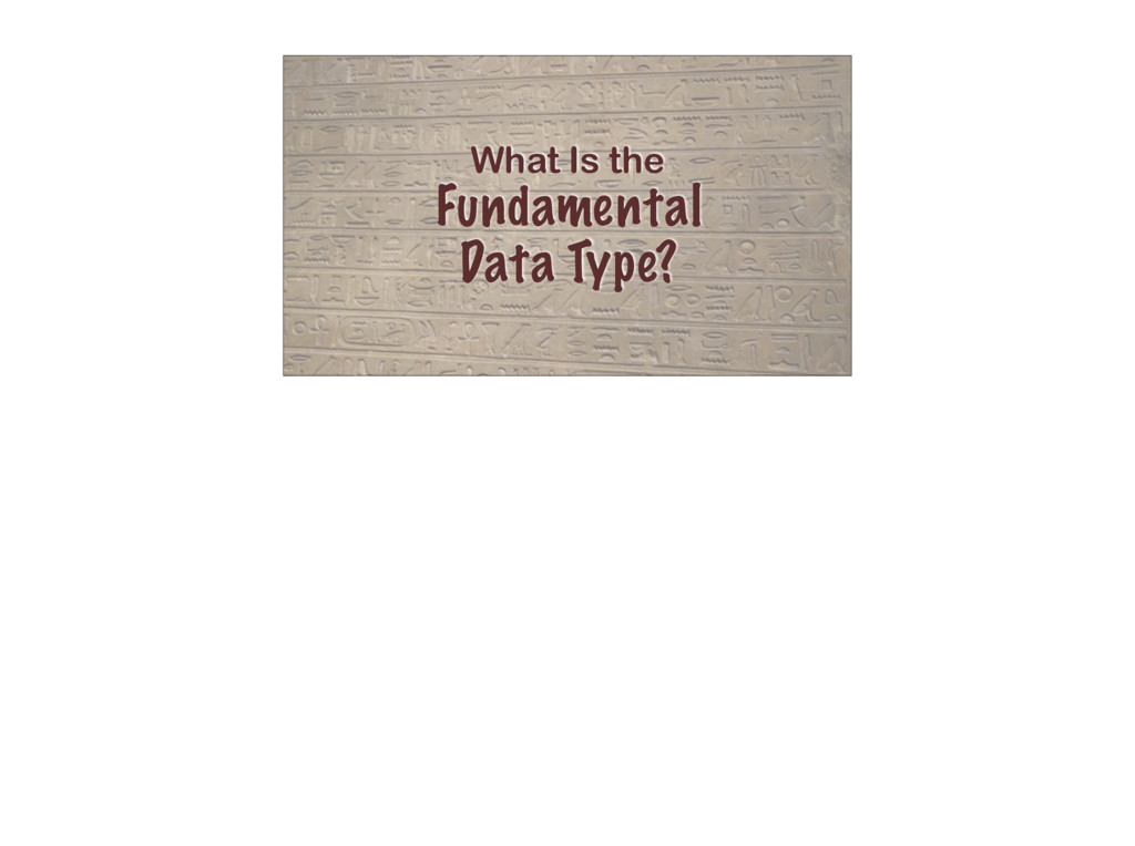 What Is the Fundamental Data Type?