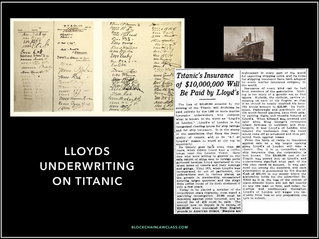 LLOYDS UNDERWRITING ON TITANIC BLOCKCHAINLAWCLA...