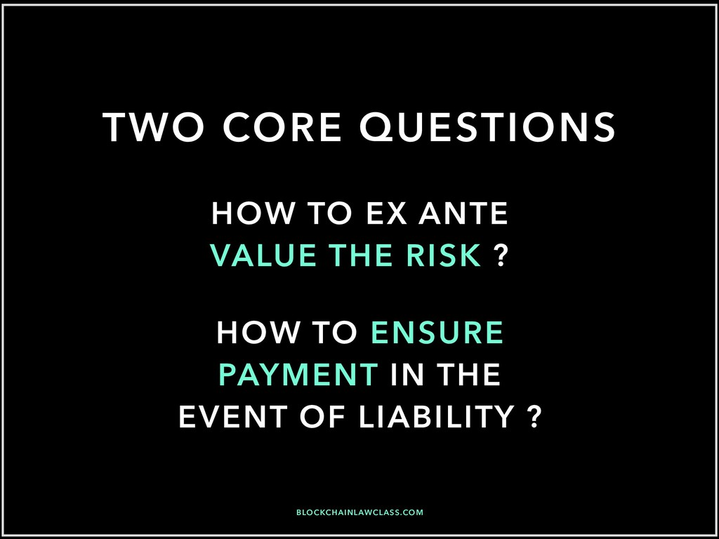 TWO CORE QUESTIONS HOW TO EX ANTE VALUE THE RIS...