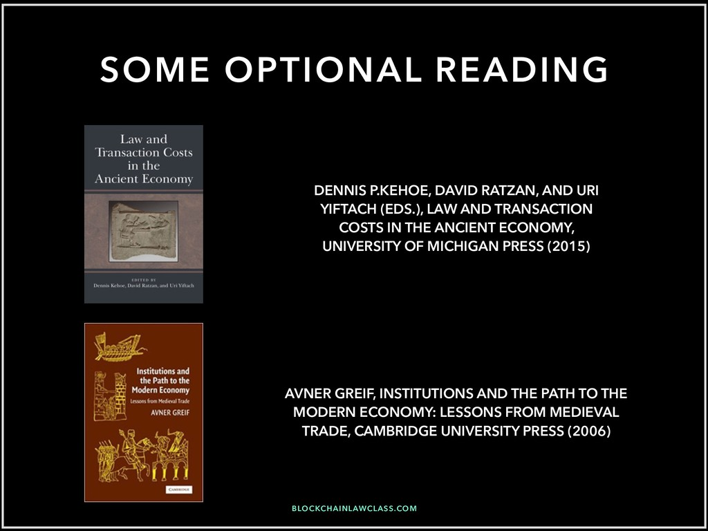 SOME OPTIONAL READING AVNER GREIF, INSTITUTIONS...