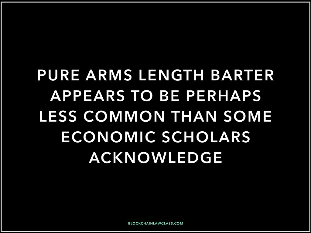 PURE ARMS LENGTH BARTER APPEARS TO BE PERHAPS L...