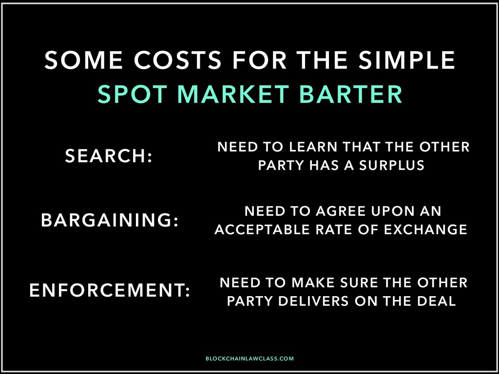 SOME COSTS FOR THE SIMPLE SPOT MARKET BARTER SE...