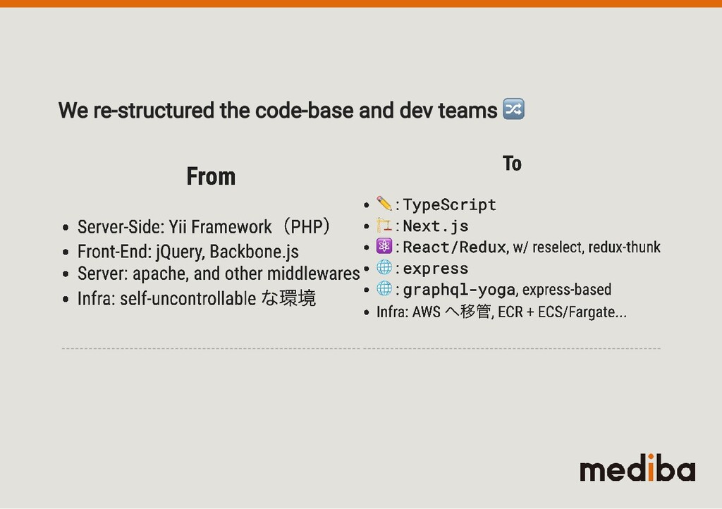 We re-structured the code-base and dev teams