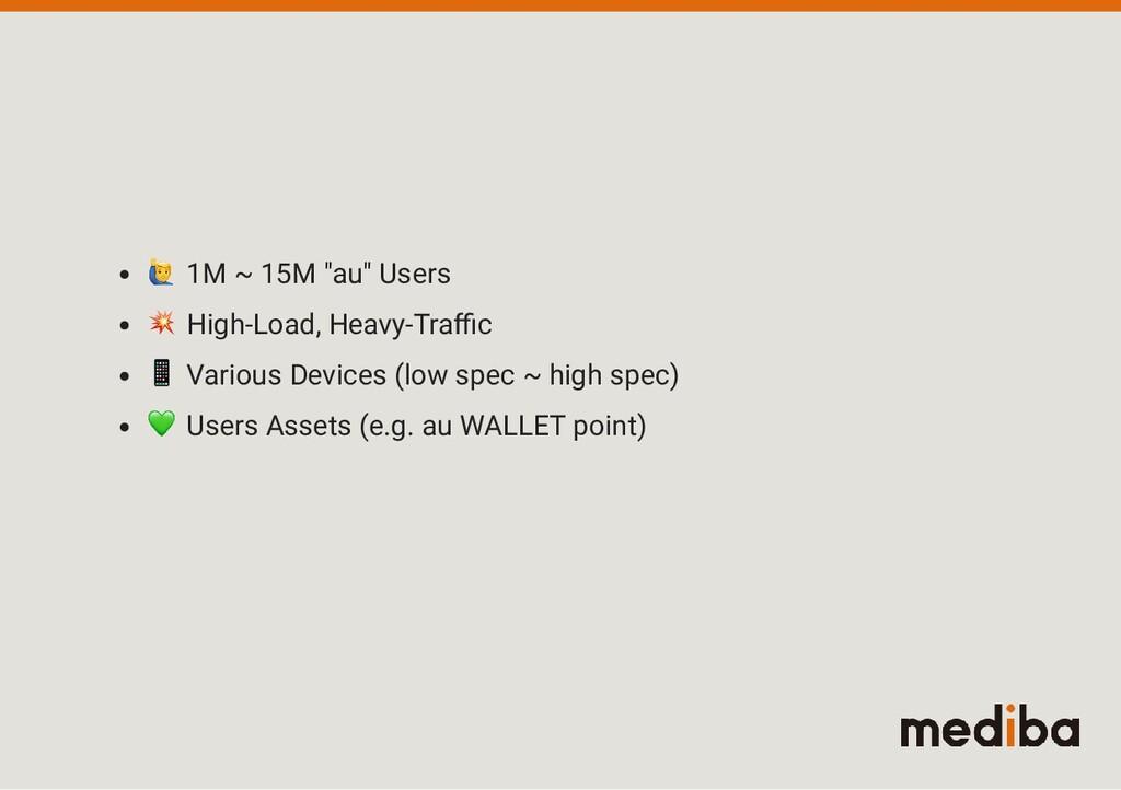 "1M ~ 15M ""au"" Users  High-Load, Heavy-Tra c  Va..."