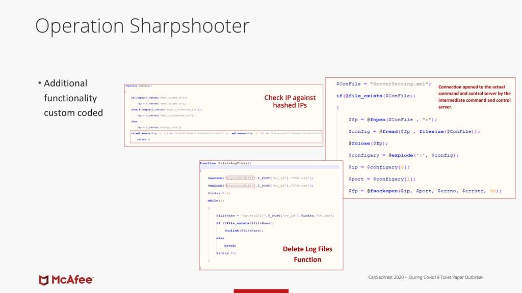 Operation Sharpshooter • Additional functionali...