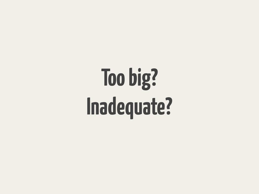 Too big? Inadequate?
