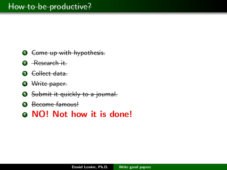 How to be productive? 1 Come up with hypothesis...