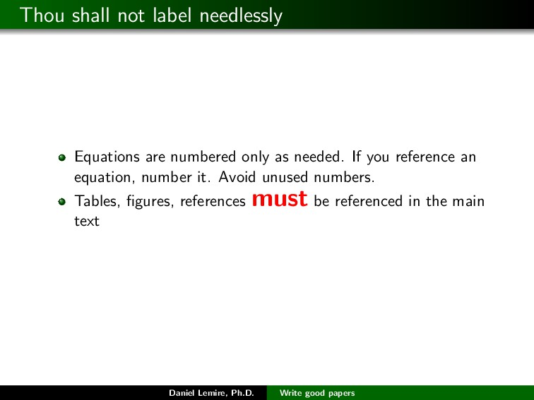 Thou shall not label needlessly Equations are n...