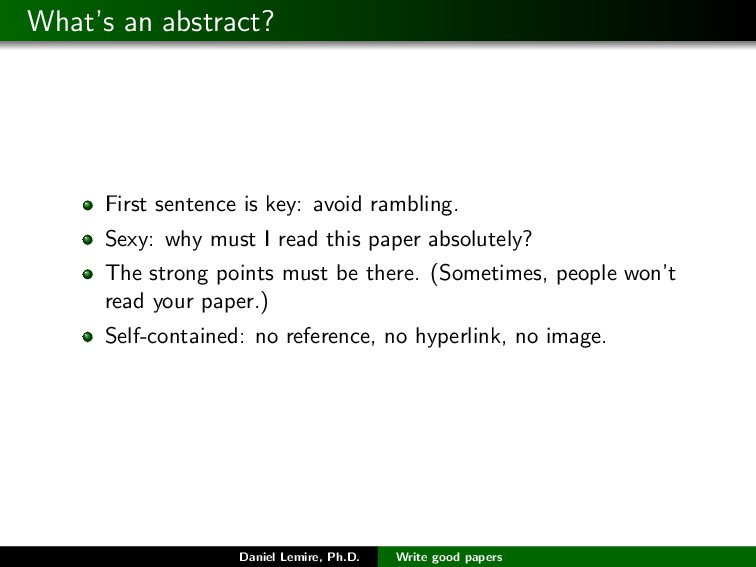 What's an abstract? First sentence is key: avoi...