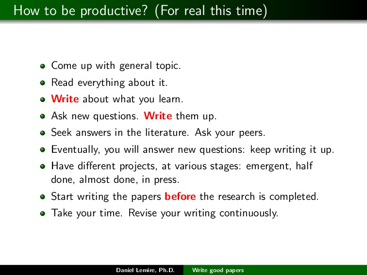 How to be productive? (For real this time) Come...