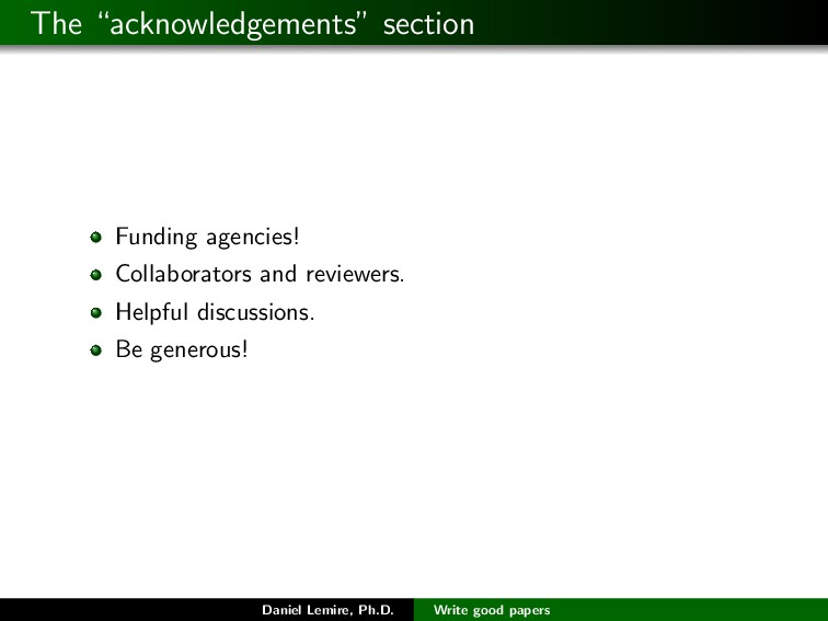 "The ""acknowledgements"" section Funding agencies..."