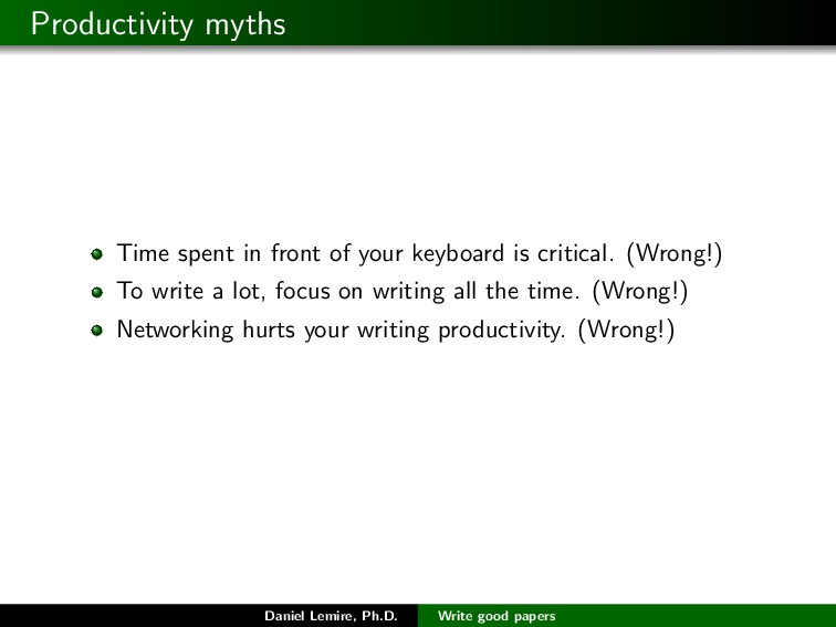 Productivity myths Time spent in front of your ...