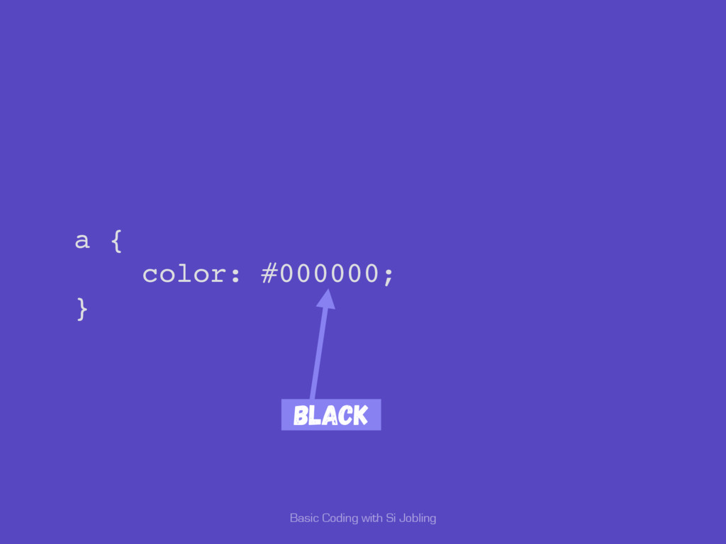 Basic Coding with Si Jobling a { color: #000000...