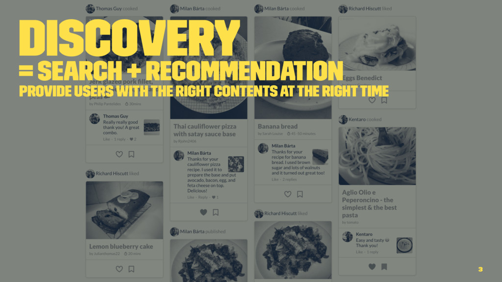 Discovery = Search + Recommendation Provide use...