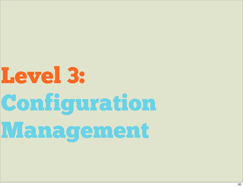 Level 3: Configuration Management 30