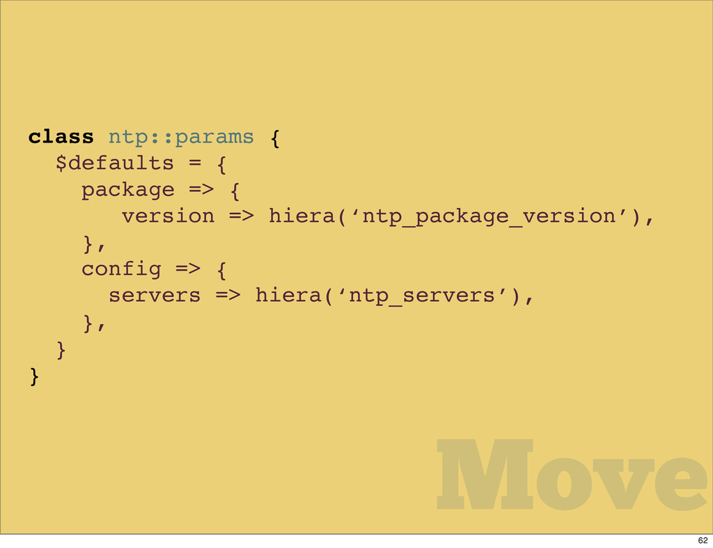 class ntp::params { $defaults = { package => { ...