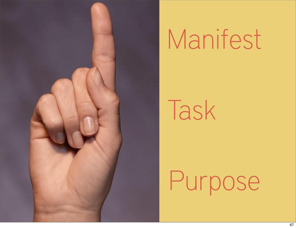 Manifest Task Purpose 67