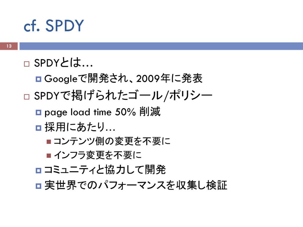 cf. SPDY ¨ SPDYとは… ¤ Googleで開発され、2009年に発表 ¨ ...