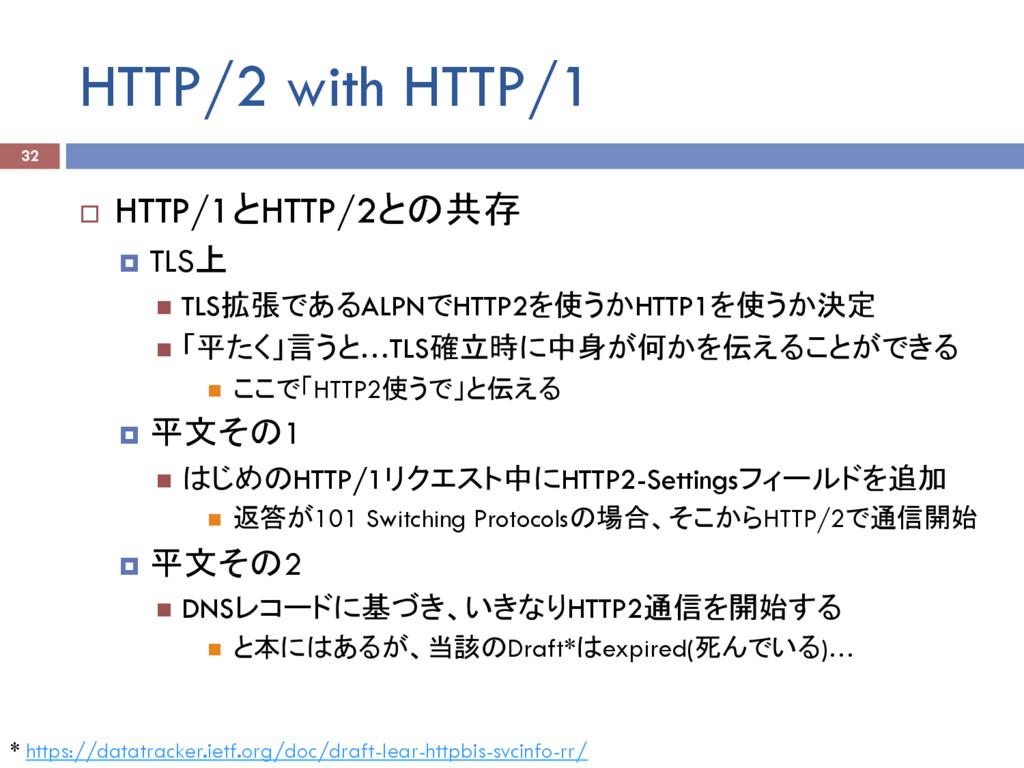 HTTP/2 with HTTP/1 ¨ HTTP/1とHTTP/2との共存 ¤ TLS上...