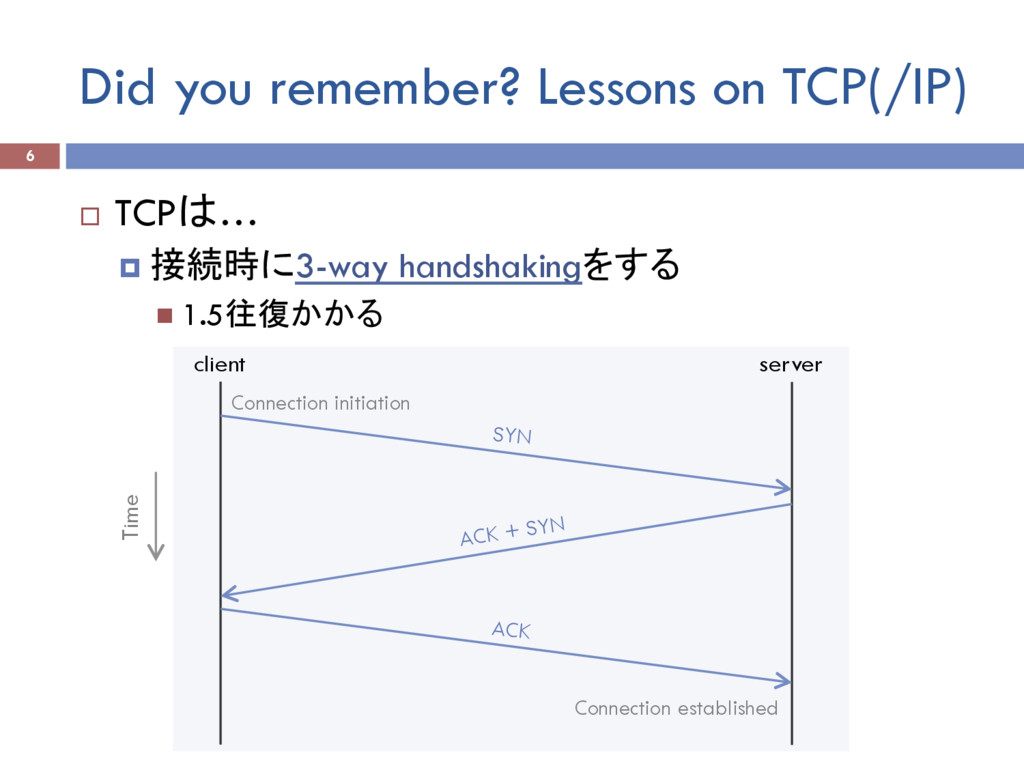 Did you remember? Lessons on TCP(/IP) ¨  TCPは… ...