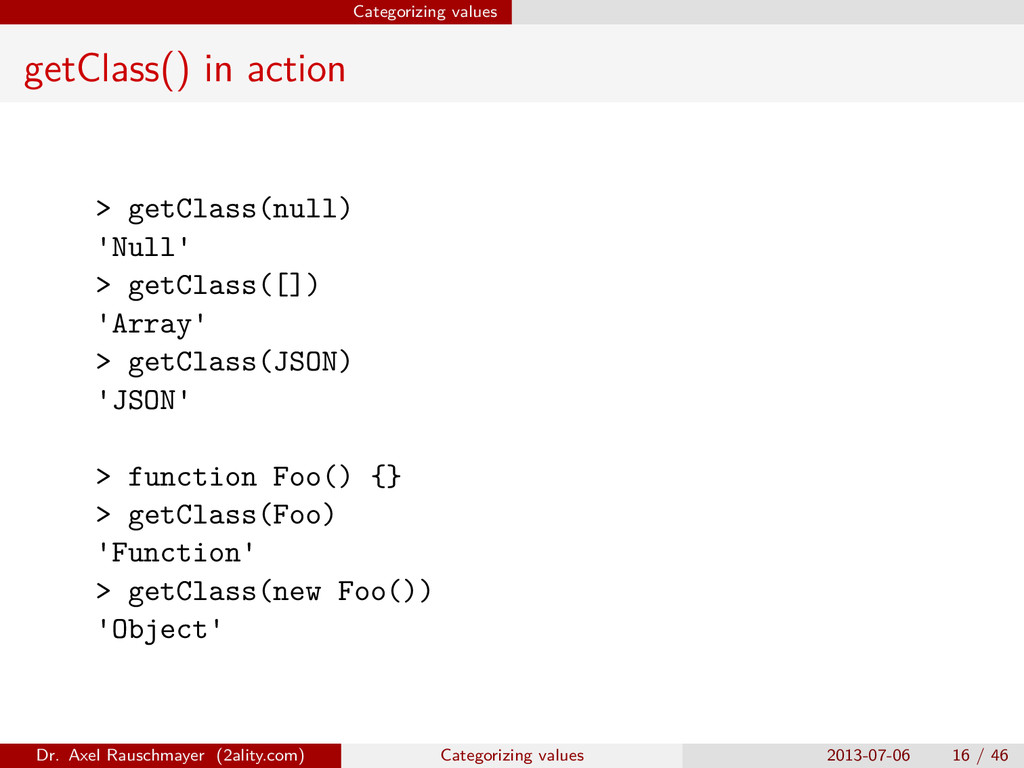 Categorizing values getClass() in action > getC...