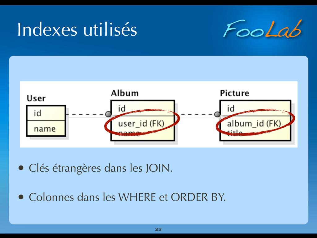 FooLab Indexes utilisés 23 • Clés étrangères da...