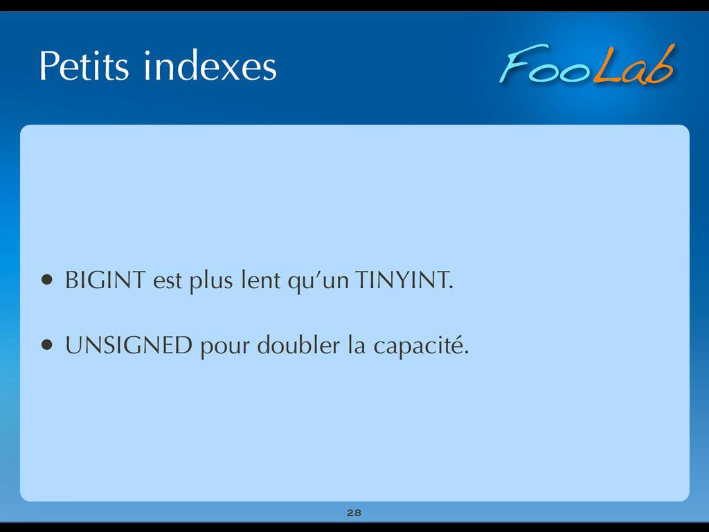 FooLab Petits indexes 28 • BIGINT est plus lent...