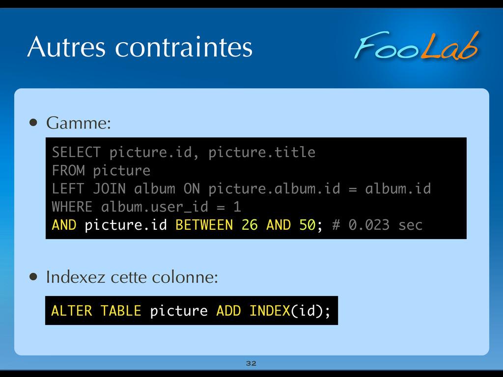 FooLab Autres contraintes 32 • Gamme: • Indexez...