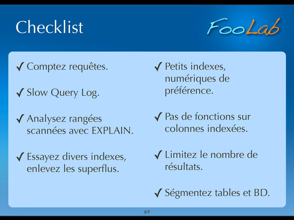 FooLab Checklist 37 ✓Comptez requêtes. ✓Slow Qu...