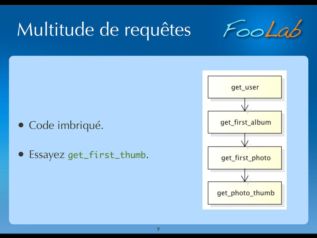 FooLab Multitude de requêtes • Code imbriqué. •...