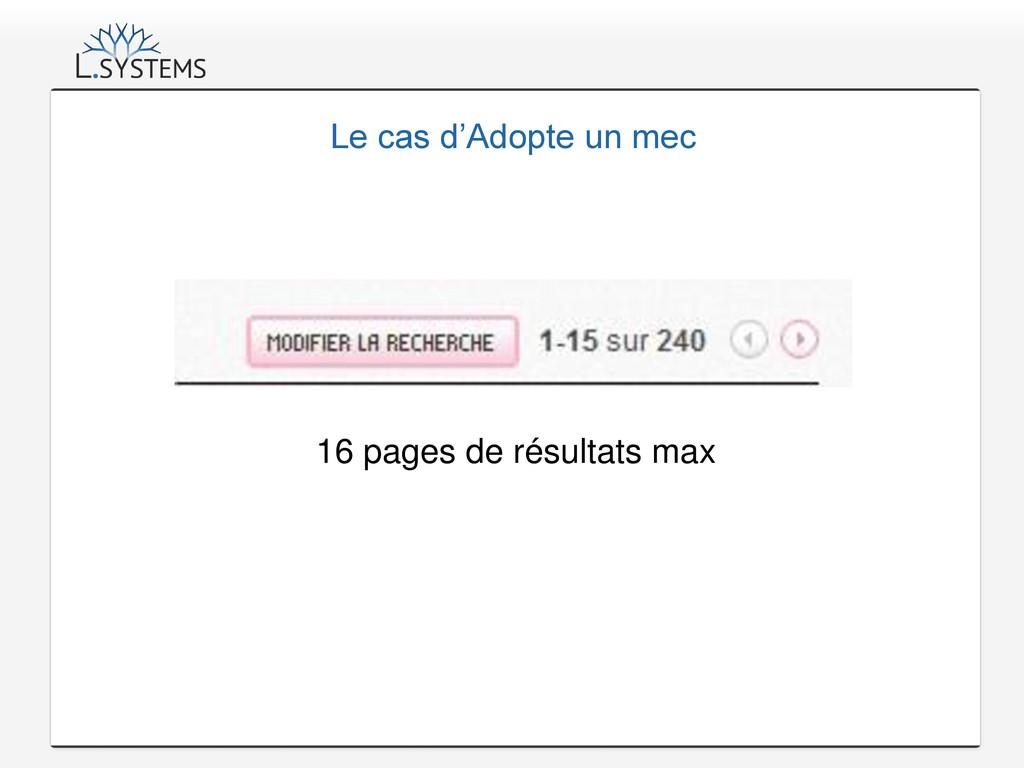 Le cas d'Adopte un mec 16 pages de résultats max