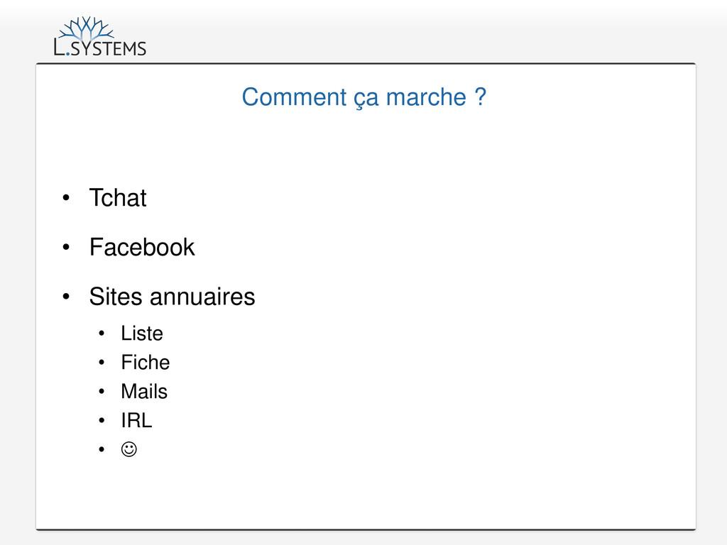 Comment ça marche ? • Tchat • Facebook • Sites ...