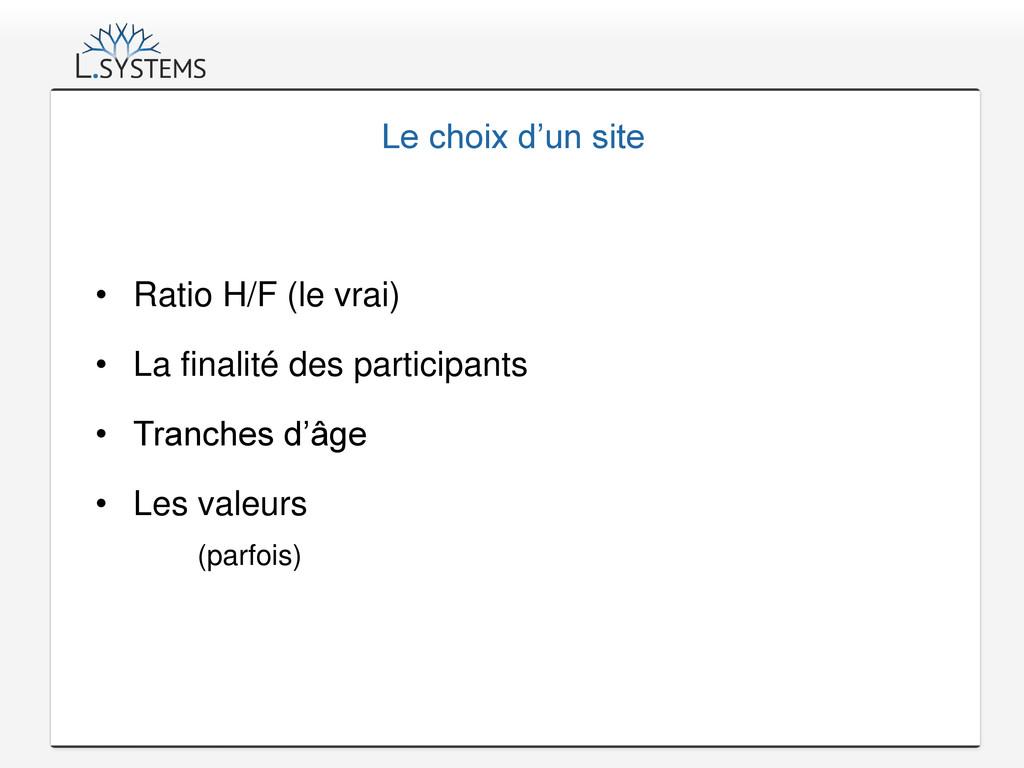 Le choix d'un site • Ratio H/F (le vrai) • La f...